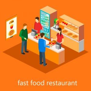 isometric fast food restaurant. Flat design. 3d illustration.