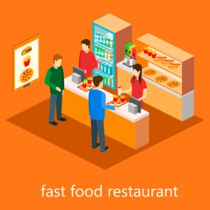 isometric fast food restaurant. Flat design. 3d illustration.