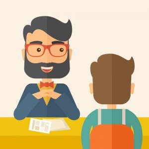A smiling Caucasian human resource manager with beard interviewed the applicant with his