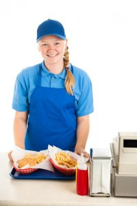 Teenage worker serve